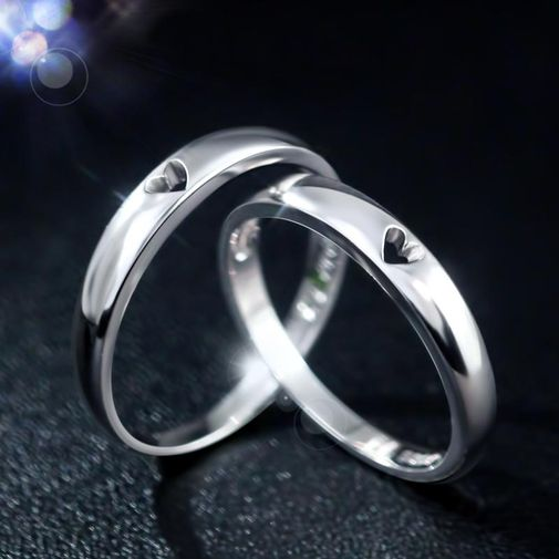 His & Her Love Heart 925 Silver Couple Matching Rings