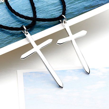 Cross 925 Silver Couple Matching Pendant Necklaces