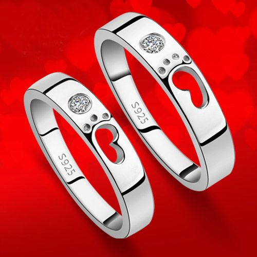 """""""Footprints of Love"""" Sterling Silver Matching Couple Promise Rings"""
