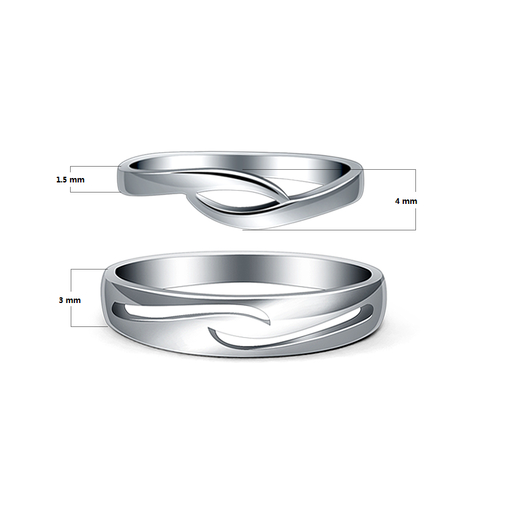 Designer Inspired 925 Sterling Silver Couple Matching Promise Rings