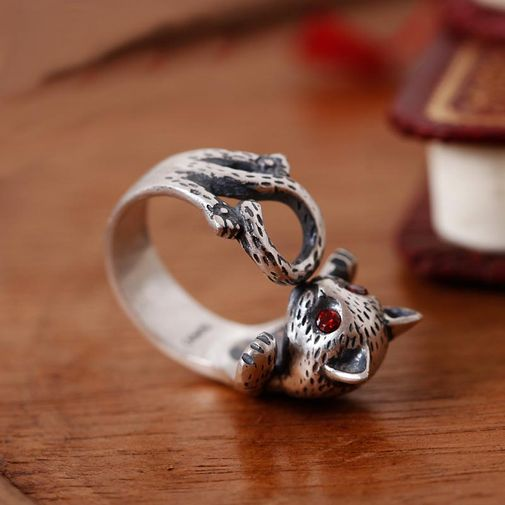 Women's Cute Cat Sterling Silver Open Ring Size Adjustable