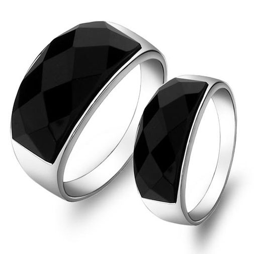 Black Agate 925 Silver Matching Couple Rings