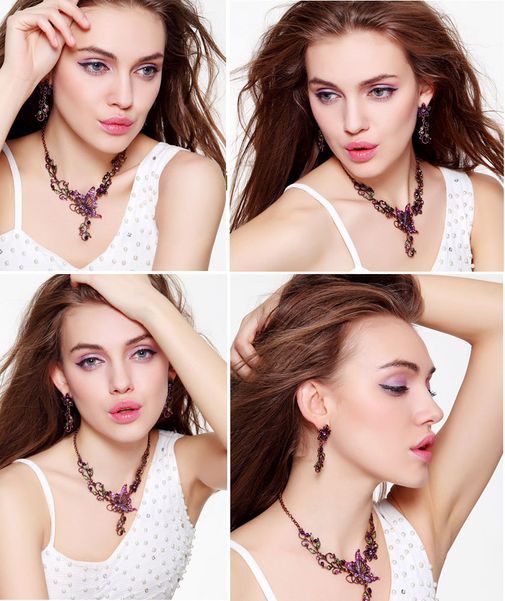 Vintage Butterfly Drop Necklace and Earrings Matching Set