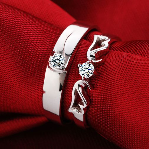 Angel's Wing 925 Silver Cubic Zirconia Couple Rings Size Adjustable
