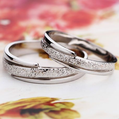 Dull Polish Style Sterling Silver Couple Wedding Bands