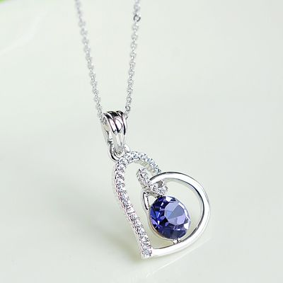 Love Heart 925 Sterling Silver Cubic Zirconia Pendant Necklace