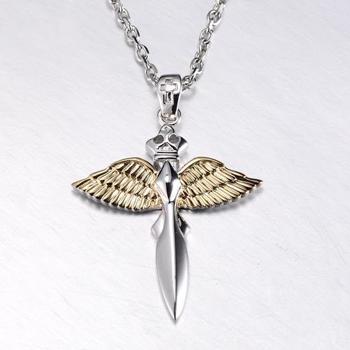 Angel's Wing 925 Silver Pendant Couple Matching Necklace Set