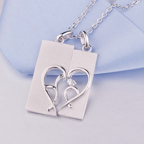 Love Heart Sterling Silver Couple Matching Pendant Necklace Set