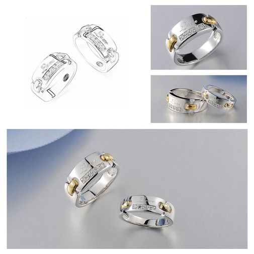 Fashion 925 Sterling Silver Couple Matching Promise Rings