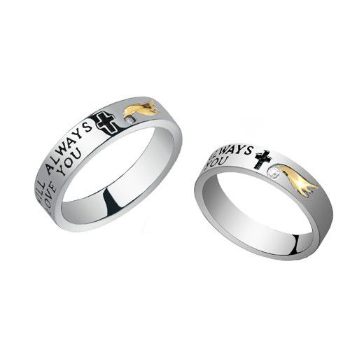"""I Will Always Love You"" and Cross Engraved 925 Silver Couple Rings"
