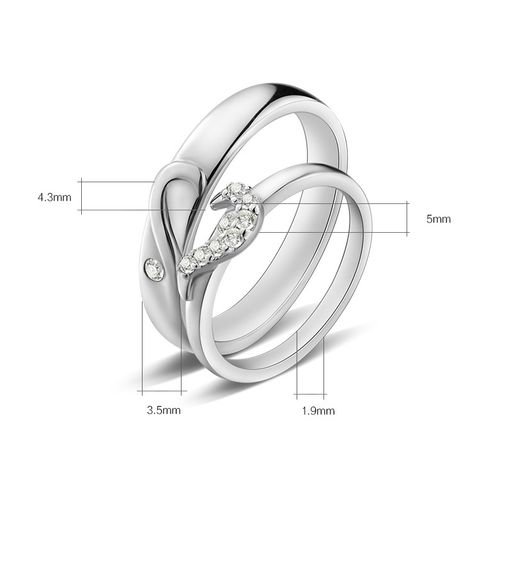 Love Heart Sterling Silver CZ Couple Wedding Bands Matching Set