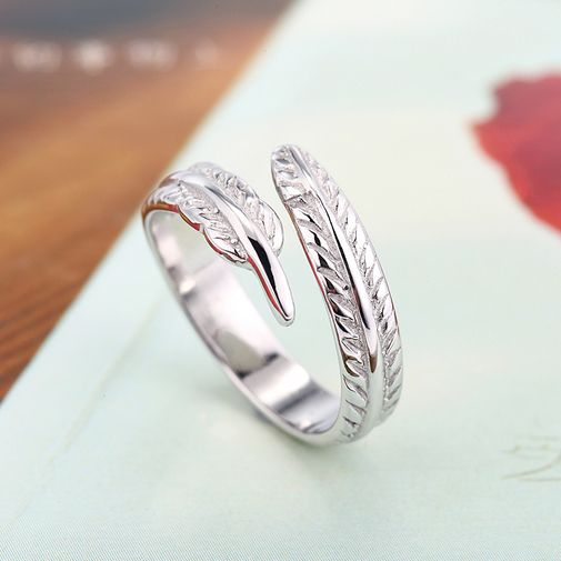 Feather 925 Sterling Silver Ring Size Adjustable