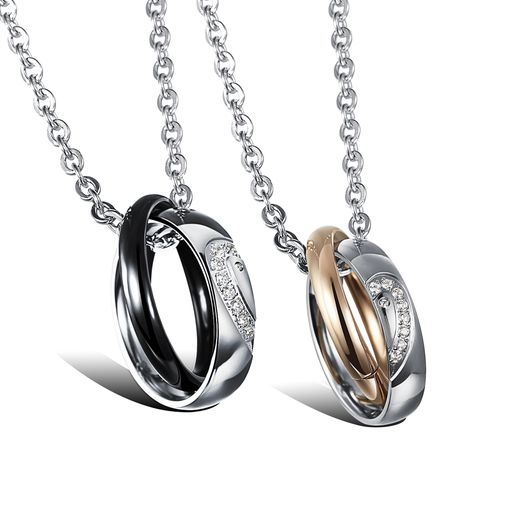Love Heart Stainless Steel CZ Matching Couple Pendant Necklaces Set