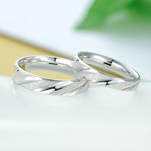 925 Sterling Silver Couple Matching Wedding Bands