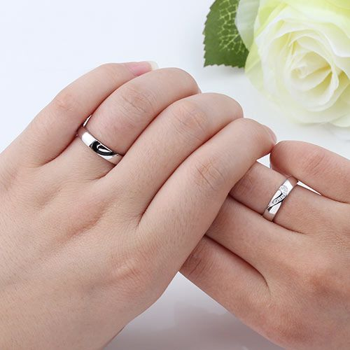 Love Heart Sterling Silver Couple Wedding Bands Matching Set