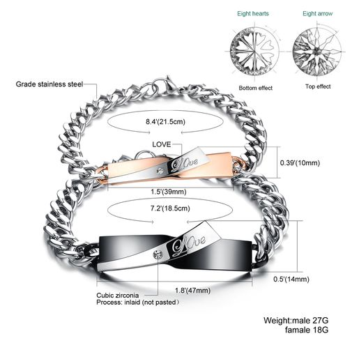 Couple Matching Stainless Steel Cubic Zirconia Bracelets Set
