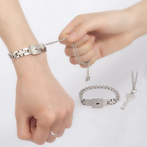 Personalized Love Lock and Key Matching Couples Bracelets & Necklace Set