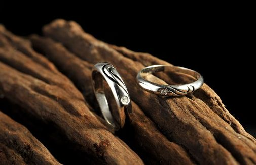 Double Love Heart 925 Sterling Silver Couple Matching Promise Rings