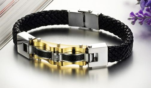 Men's Fashion Leather with Stainless Steel Clasp Bracelet