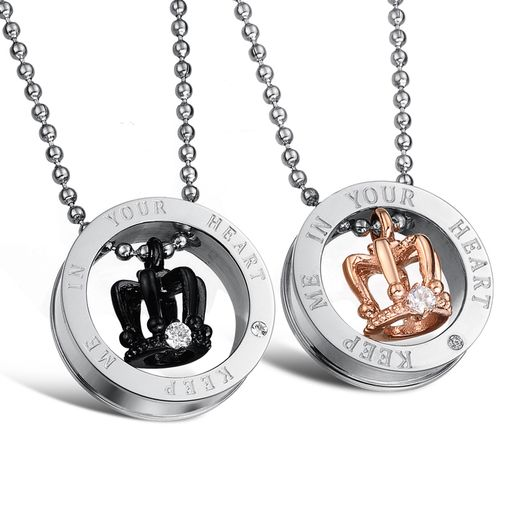 Crown Titanium Couples Matching Pendant Necklace Set