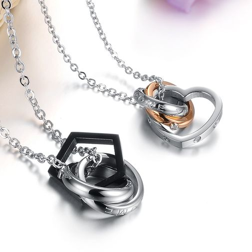 Titanium Couples Matching Pendant Necklace Set