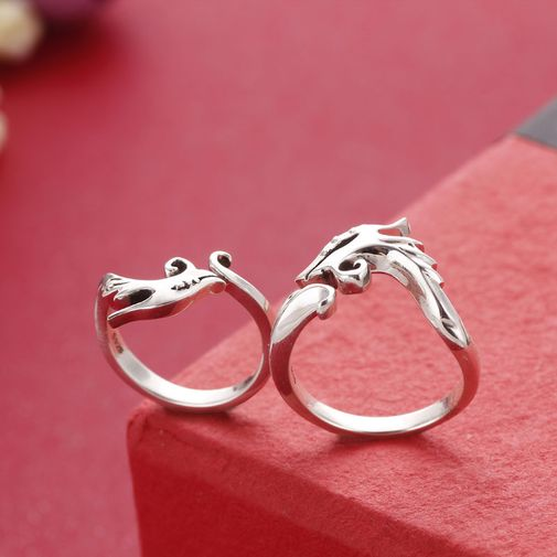 Dragon and Phoenix 925 Sterling Silver Couple Matching Ring Size Adjustable