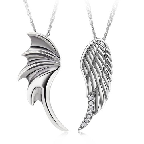 """""""Angel Wings"""" 925 Sterling Silver Couple Pendant Necklaces Matching Set"""