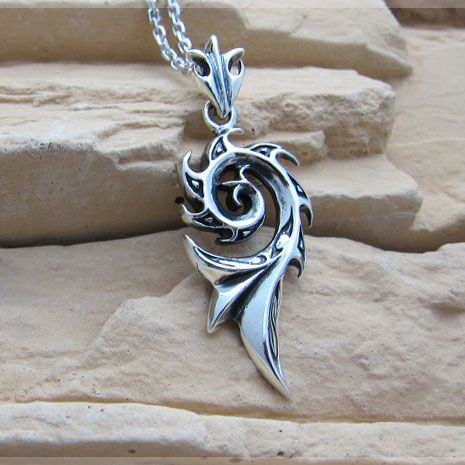 WOW Flame Vintage Sterling Silver Pendant Necklace