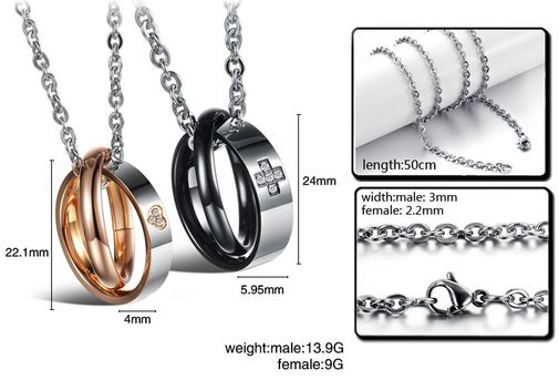 CZ Heart and Cross Stainless Steel Couple Matching Pendant Necklace Set