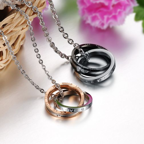 Double Circle Stainless Steel Couple Matching Pendant Necklace