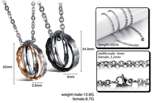 Fashion Cubic Zirconia Stainless Steel Couple Matching Pendant Necklaces