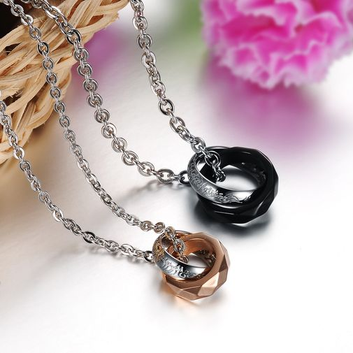 """""""The Lords Of The Rings"""" Stainless Steel Matching Couple Pendant Necklaces"""