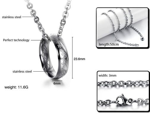 """The Lords Of The Rings"" Stainless Steel Pendant Necklaces"