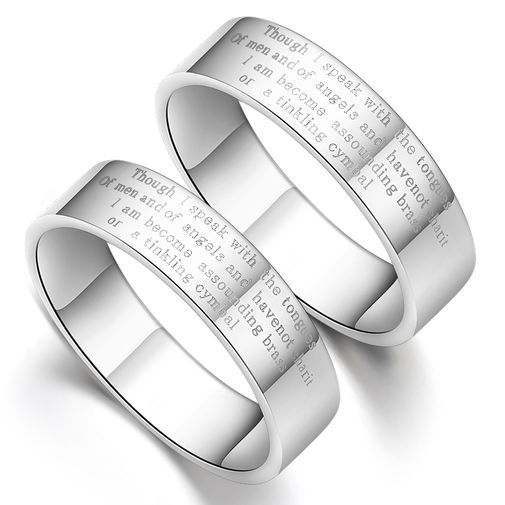 Corinthains Paean of Love S925 Silver Couple Wedding Bands Matching Set