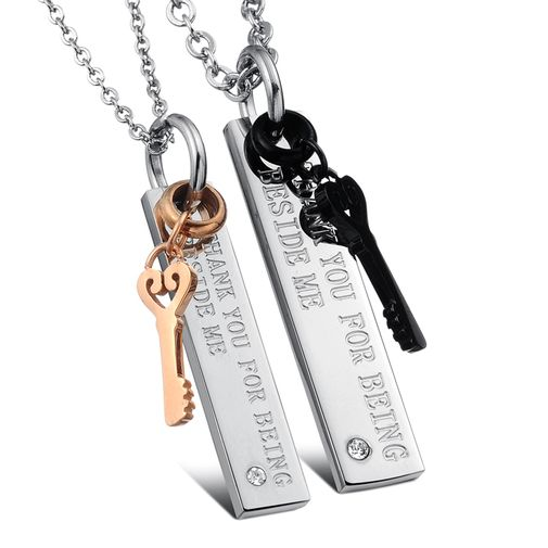 Love Key Stainless Steel Couple Matching Pendant Necklace Set