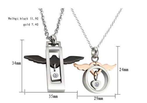 Angel's Wing Stainless Steel Couple Matching Pendant Necklaces