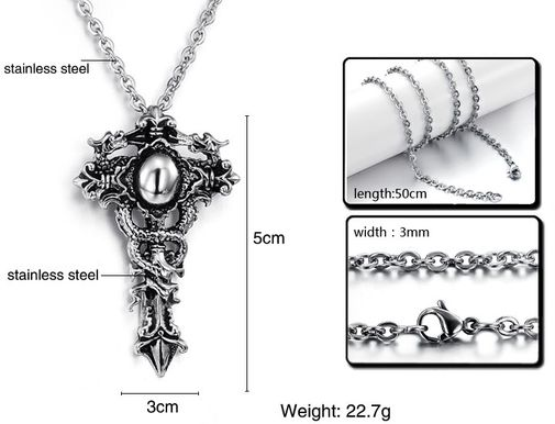 Men's Personality Vintage Latin Cross Stainless Steel Pendant Necklaces