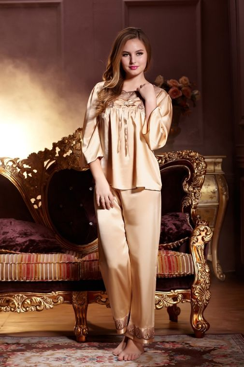 Luxury Silk Pajamas Sets Matching Couple Sleepwear