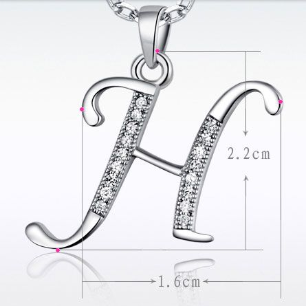 Women's Fashion Initial Sterling Silver Pendant Necklace