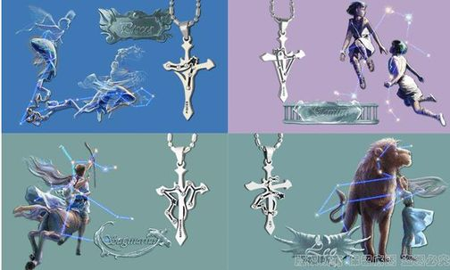 12 Zodiac Signs Stainless Steel Cubic Zirconia Cross Pendant Necklace