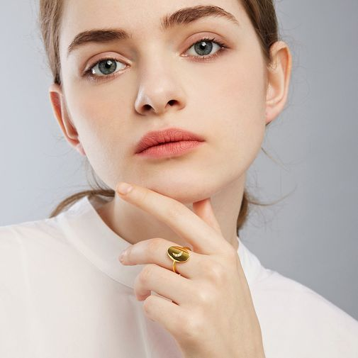 Moon Oval Piece Open Finger Ring