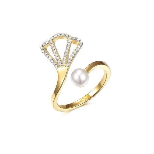 Silver Crown Pearl Wrap Finger Ring