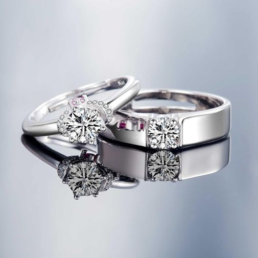 Wreath Matching Promise Rings for Couples - Size Adjustable