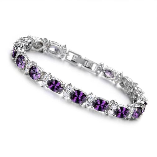 Oval Diamonds Link Bracelet for Women's