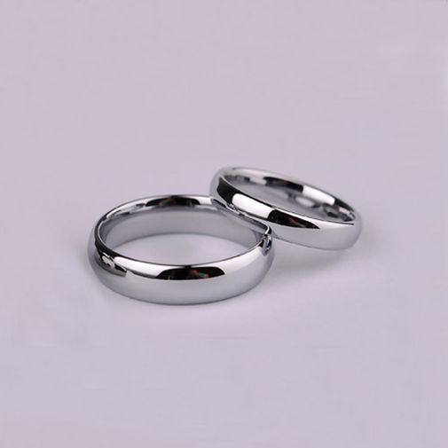 Glossy Tungsten Wedding Ring - Plated White Gold