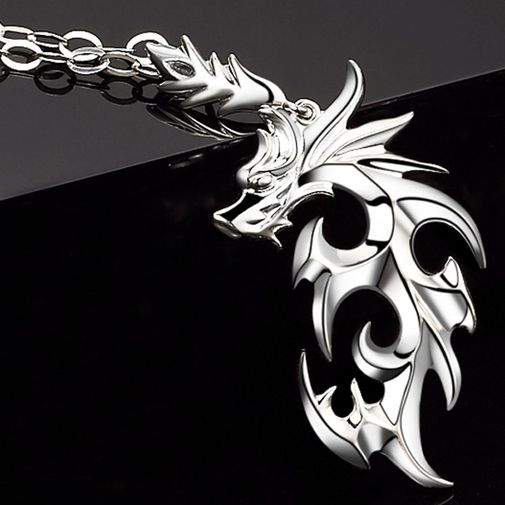 Fire Dragon White Gold Men's Engraved Necklace