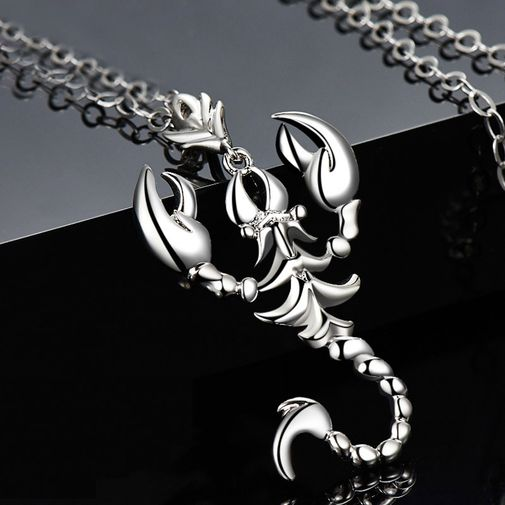 Scorpion Sterling Silver Engraved Necklace for Him