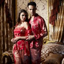 ... Luxury Silk His   Hers Matching Couples Pajamas Sleepwear Sets c96bf0a65