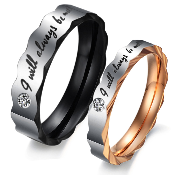 I Will Always Be With You Engraved Titanium Engagement Rings Set Yoyoon